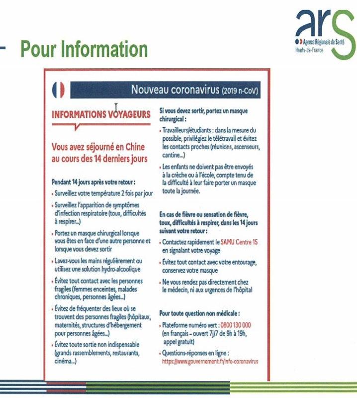 Informations voyageurs / Coronavirus